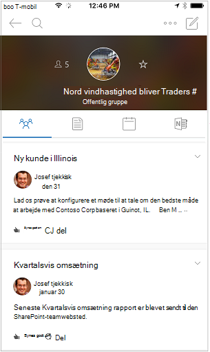 Samtalevisning for grupper i Outlook-mobilappen