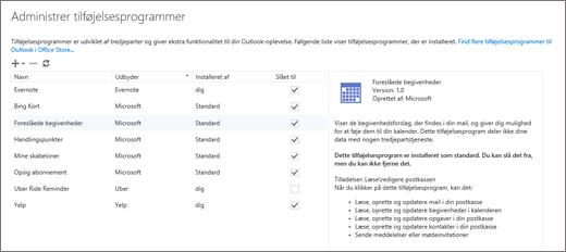 """Skærmbillede af vinduet """"Administrer tilføjelsesprogrammer"""", hvor du kan tilføje eller fjerne tilføjelsesprogrammer, få vist oplysninger om et tilføjelsesprogram og gå til Office Store for at finde flere tilføjelsesprogrammer til Outlook. Tilføjelsesprogrammet Foreslåede møder er markeret, og der vises oplysninger om det."""