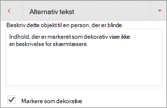 Markér som dekorativ markeret i dialogboksen Alternativ tekst i PowerPoint til Android.