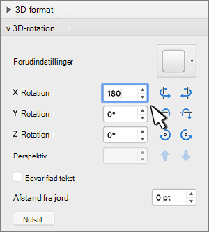 3D-rotations sektion med X-rotation markeret