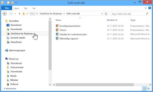 Et skærmbillede af hvordan det ser ud i Stifinder, når du har synkroniseret en OneDrive for Business-fil med skrivebordet
