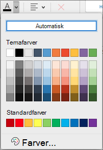 Skriftfarve rullemenu i OneNote til Mac.