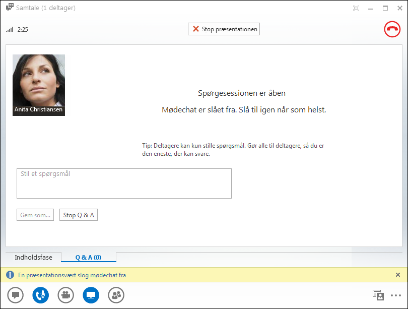 Skærmbillede af vinduet med Q&A Manager