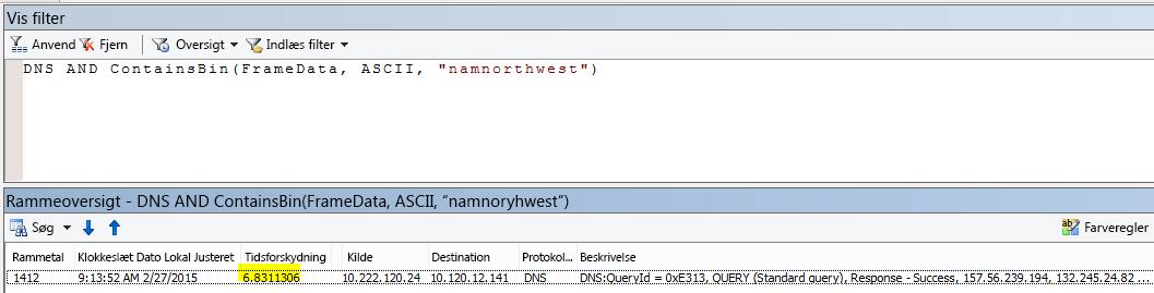"""Yderligere Netmon-resultater filtreret med DNS OG CONTAINSBIN(Framedata, ASCII, """"namnorthwest""""), som viser meget lav tidsforskydning mellem anmodning og svar."""