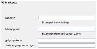 Angiv din mailadresse og adgangskode for Exchange