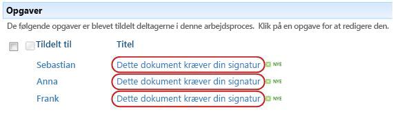 Identificere tekst i opgavetitlen på siden Status for arbejdsproces