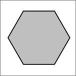 Viser en sekskantet figur.