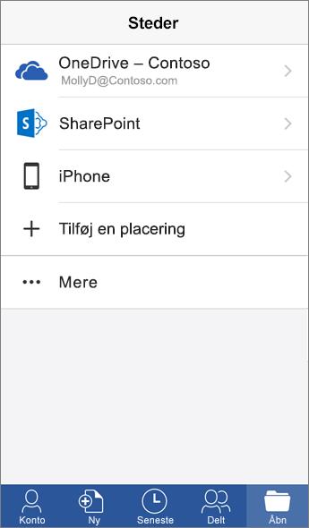 Skærmbillede af Steder-skærmen i Word-mobilappen.