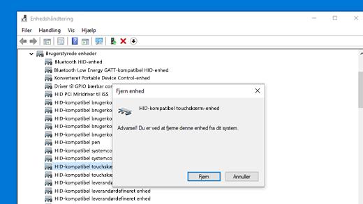 Installér driver til HID-kompatibel touchskærm