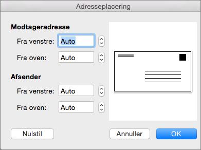 I Adresseplacering kan du ændre leverings- og returadressernes afstand til konvoluttens kanter.
