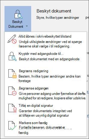 Menuen Beskyt dokument i Word til Office 365