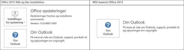 Grafik, der viser, hvordan du kontrollerer, om en Office 2013-installation er klik og kør eller MSI-baseret