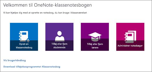 Guiden OneNote-klassenotesbog med ikonerne Opret en klassenotesbog, Tilføj eller fjern studerende, Tilføj eller fjern lærere og Administrer notesbøger.