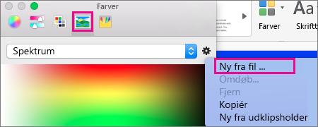 Vælg billedikonet for at vælge en farve fra en fil