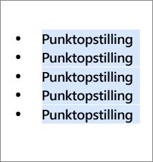 Eksempel på punktopstilling med runde sorte cirkler som punkttegn.