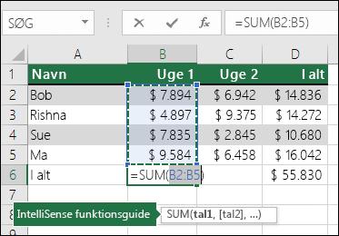 Celle B6 viser Autosum Sum-formlen: =SUM(B2:B5)