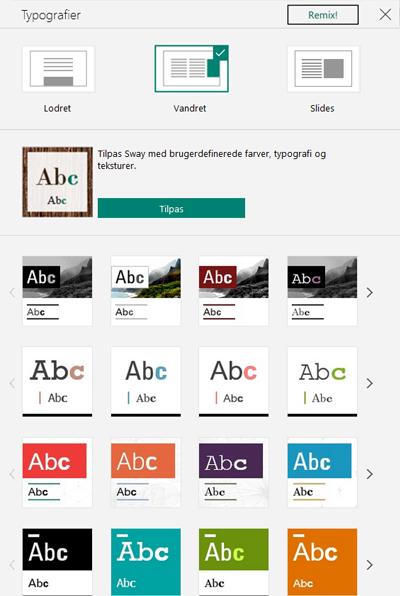 Design og typografier til Sway