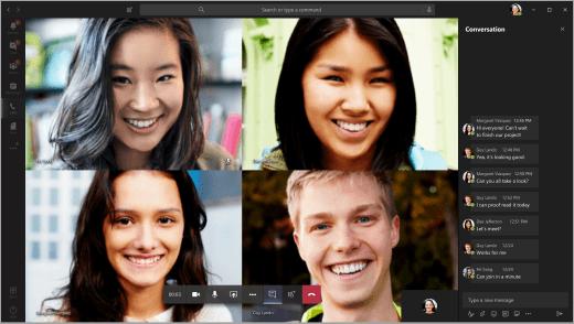Studerende i en videochat i teams