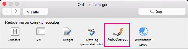 Klik på Autokorrektur under Indstillinger i Word for at ændre det, som Autokorrektur ændrer i dokumentet.
