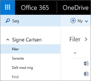 Skærmbillede af filvisningen i OneDrive for Business