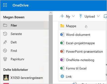 OneDrive Opret mappe
