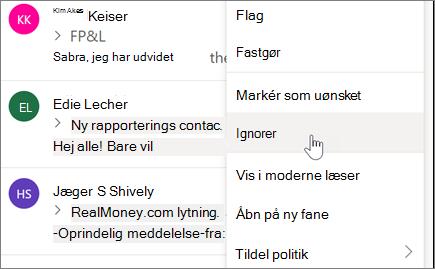 Ignorer en mail samtale i Outlook på internettet
