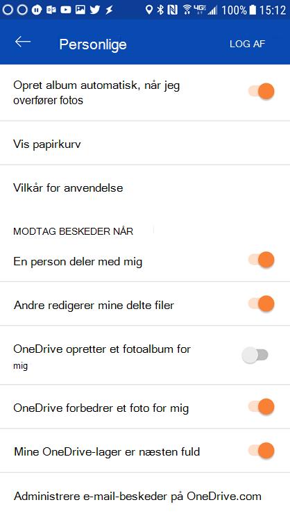 Gå til indstillingerne for din OneDrive for Android-App for at angive indstillingerne for beskeden.