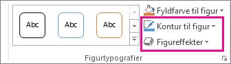 Gruppen Figurtypografier på fanen Tegnefunktioner – Formatér