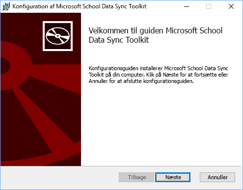 Vælg Næste på velkomstsiden for opsætning af Microsoft School Data Sync Toolkit