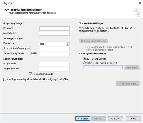 Angiv dine POP- eller IMAP-serveroplysninger