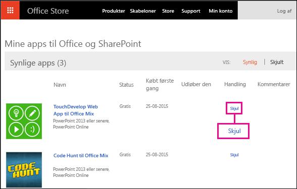 Skjul linket, der er fremhævet på siden Office Store-tilføjelsesprogrammer