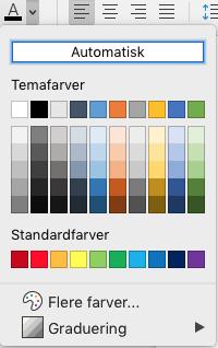 Skriftfarve til valg af skriftfarve i Word til Mac