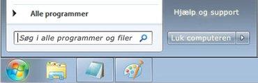 Menuen Start i Windows 7 med feltet Søg