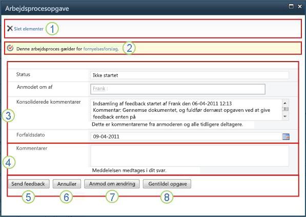 Opgaveformular for indsamling af feedback med felter fremhævet
