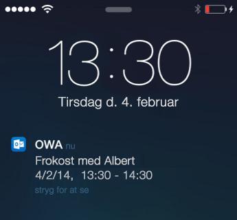 Låseskærm for iPhone viser påmindelser om møder for OWA til iPhone