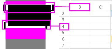 kolonne- og rækkeoverskrifter i et regneark
