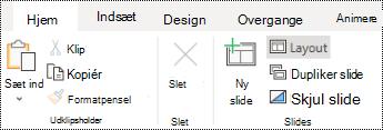Knappen layout på båndet under fanen hjem i PowerPoint online.
