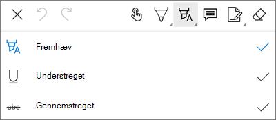 OneDrive for Android PDF-markering Fremhæv Menu