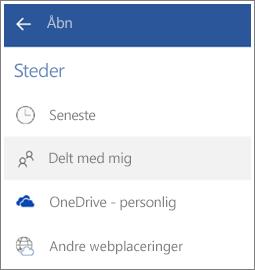 Skærmbillede af, hvordan du får vist filer, som andre har delt med dig i Android.