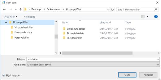 Gem contacts.csv-filen et sted på computeren.