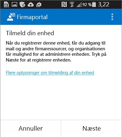 Tilmelde Firmaportal på Android