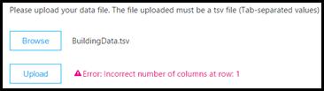 Eksempel på uploadvalideringsfejl i dashboardet Opkaldskvalitet