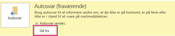 Skærmbilledet af dialogboksen til at slå automatiske svar fra i Outlook