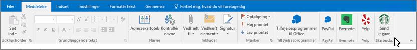 Skærmbillede af Outlook-båndet med fokus på fanen Meddelelse, hvor markøren peger på tilføjelsesprogrammer yderst til venstre. I dette eksempel er tilføjelsesprogrammerne Office Add-ins, PayPal, Evernote, Yelp og Starbucks.