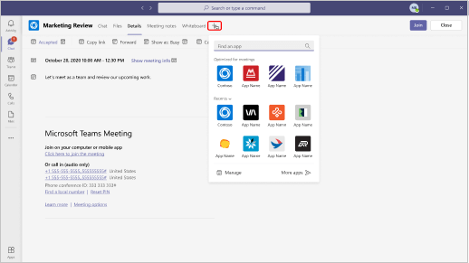 Billedet viser, hvor du kan finde apps, du kan tilføje i en mødeindkaldelse.