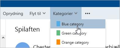 Et skærmbillede af knappen kategorier