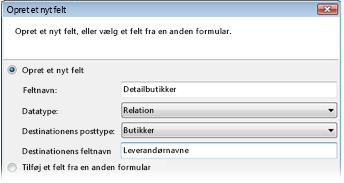 Creating a new relationship field in the Create a New Field dialog box.