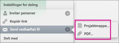 Sende dit regneark som en Excel-projektmappe eller en pdf-fil