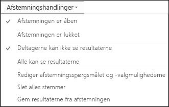 Skærmbillede af afstemningshandlinger