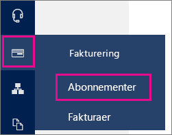 Venstrenavigation til siden Abonnementer i Office 365 Administration.